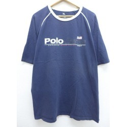 Old clothes T-shirt Ralph Lauren Ralph Lauren big size dark blue navy XL size used men short sleeves