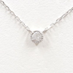 K10 10 gold WG white gold necklace diamond 0.09 used jewelry ★★ giftwrapping for free