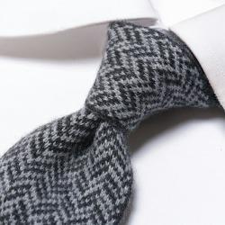 イザイア ISAIA knit Thailand tie narrow Thai men cashmere 100% herringbone navy dark blue gray / Italy brand stylish Naples handstitch