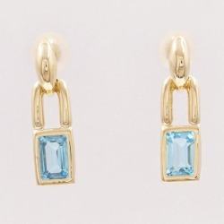K18 18-karat gold YG yellow gold pierced earrings blue topaz used jewelry ★★ giftwrapping for free