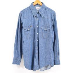 16 1/2-34 men L vintage /wbc2833 in the good condition 70s made in Wrangler Wrangler long sleeves denim western shirt USA