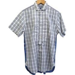 COMME des GARCONS JUNYA WATANABE MAN 17SS check reshuffling short sleeves shirt white X blue size: XS (コムデギャルソンジュンヤワタナベマン)