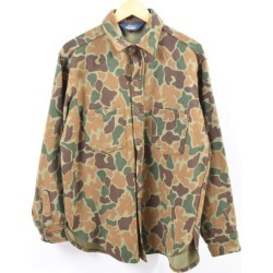 Men L vintage /wbh2657 in the 80s made in Ulrich WOOLRICH duck hunter duck camouflage wool shirt USA