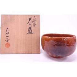 Large gutter fried large gutter one flat plowing candy glaze bowl [Japanese dishes / Matcha porcelain bowl / Matcha bowl / tea ceremony / tea set / tea service set / curio / tea]