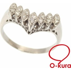 Deep-discount pawnshop exemption from taxation A173176 having V-shaped diamond ring Lady's Pt900 12 0.14ct 4.3 g ring platinum diagram
