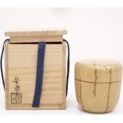 宗甫造白漆塗網干蒔絵中棗 [tea ceremony / tea set / tea service set / curio / tea / jujube]