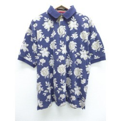 Old clothes ポロシャツトミーヒルフィガー TOMMY HILFIGER logo flower dark blue navy XL size used men short sleeves tops
