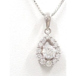 K18 18-karat gold WG white gold necklace diamond 0.36 0.25 appraisal used jewelry ★★ giftwrapping for free