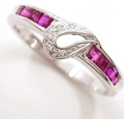 K18 18-karat gold WG white gold ring 12.5 ruby diamond used jewelry ★★ giftwrapping for free