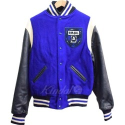 A BATHING APE X EBBETS FIELD 11AW arm leather melton award jacket blue black size: M (アベイシングエイプ)