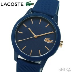 The watch that Lacoste LACOSTE 12.12 2001067 (174) clock watch Lady's navy rubber is blue