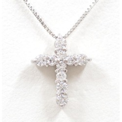 K18 18-karat gold WG white gold necklace zirconia used jewelry ★★ giftwrapping for free