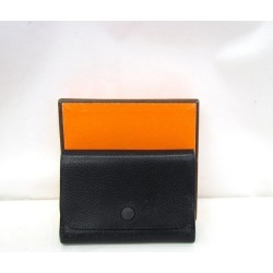 Product made in France Higashiosaka shop 328644 RYB2421 with the lady's men box made in HERMES Hermes card case card case leather black black □ H carved seal 2004