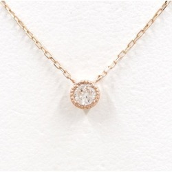K10 10 gold PG pink gold necklace diamond 0.1 used jewelry ★★ giftwrapping for free