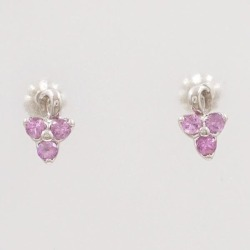 PT900 platinum pierced earrings pink sapphire used jewelry ★★ giftwrapping for free