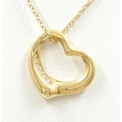 Tiffany open heart K18YG necklace diamond used jewelry ★★ giftwrapping for free