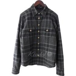CHROME HEARTS cross ball, cross patch quilting check shirt gray size: S (chromic Hertz)