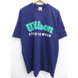 Old clothes vintage T-shirt Wilson big size dark blue navy XL size used men short sleeves