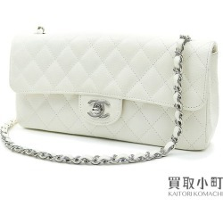 Chanel matelasse chain shoulder bag caviar skin white silver metal fittings flap bag here mark twist lock classical music A35731 #10 FLAP BAG