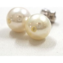 K14 14-karat gold WG white gold pierced earrings pearl white sapphire used jewelry ★★ giftwrapping for free