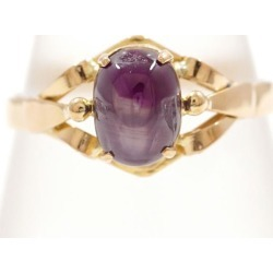 K18 18-karat gold YG yellow Goldring 20 purple star sapphire used jewelry ★★ giftwrapping for free