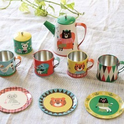 """As for """"Tin Tea Set. owner, it is set - tin plate playing house set North Europe Sweden OMM-design"""