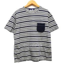 JUNYA WATANABE COMME des GARCONS MAN 18SS breast pocket circle Thibault da T-shirt navy X white size: M (ジュンヤワタナベコムデギャルソンマン)