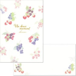 16 pieces of letterset B5 アンデューモマンベリー 4500203/4506903 (29) letter paper 2 patterns, envelope four pieces Un doux moment side ruled line strawberry strawberry strawberry