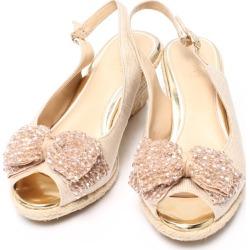 It is pace SIZE 231/2 (M) sandals rhinestone ribbon motif Pitti Lady's until - 9/11 1:59 at 9/9 18:00