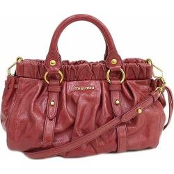 Take a miumiu (ミュウミュウ) gathers 2WAY hand long shoulder bag slant; pro-pink leather netshop