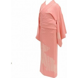 L pink 色系竹文様特品 ★★★★ mm0332b slightly plump recycling visiting dress / pure silk fabrics newly made / recycling kimono / 袷裄 67.5cm large size dress length 160.7c m medium size