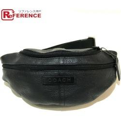 AUTHENTIC COACH Waist pouch Men's Women's body bag Black Leather x Canvas F77233