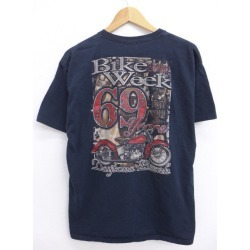 Black black large size used men with the old clothes T-shirt motorcycle week Daytona Beach breast pocket