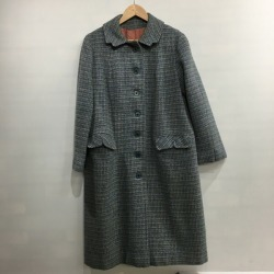 HARRIS TWEED Harris Tweed tweed coat 70's long coat outer khaki Lady's vintage Mikunigaoka store 508255 RM2005T