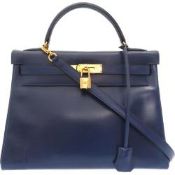Sewing boxcalf blue Roy gold metal fittings □ C carved seal handbag bag blue 0027 HERMES in Hermes Kelly 32