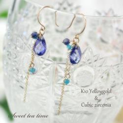 Brightness ♪ MA404036 where pierced earrings K10YG yellow gold CZ blue apatite iolite beads fashion jewelry Lady's pierced earrings are refreshing