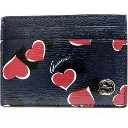 Gucci GUCCI pass case pass holder heart pattern navy 334483 brand accessory card case Lady's ★★
