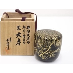 In 塗師千穂造井伊大老好柳竹 bush warbler lacquer work black Jujube [tea ceremony / tea set / tea service set / curio / tea / jujube]