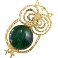 7.2g/ gold X green /TASAKI PEARL ■ 295395 made of TASAKI (Tasaki, Tasaki Shinju) owl motif malachite broach pin-tuck /Silver/ silver