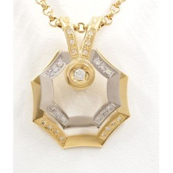 PT900 platinum K18YG necklace diamond 0.30 card differentiation book used jewelry ★★ giftwrapping for free