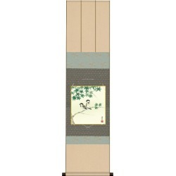 I set a decoration colored paper in a maple in 四十雀衣笠緞子色短掛 kn2kic-001/k5-020b summer in the painting of flowers and birds summer when a colored paper takes it