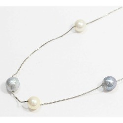 Station necklace pearl pearl approximately 6.5-7.2mm necklace 18-karat gold white gold (K18WG) jewelry netshop