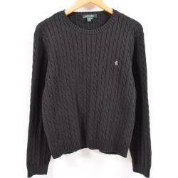 Ralph Lauren Ralph Lauren LAUREN Lauren cable knitting cotton knit sweater Lady's XL /wbc0223