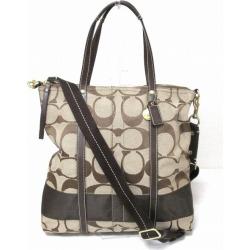 Coach COACH signature stripe magazine tote bag 11100 beige X brown bag lady ★★ found on Bargain Bro India from Rakuten Global for $65.00