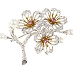 Mikimoto pink sapphire side stone cherry tree motif 5P, pearl oyster pearl /Japan Pearl/ cultured pearl, baby pearl, pearl, diamond broach treatment /MIKIMOTO/h190603 ■ 293023