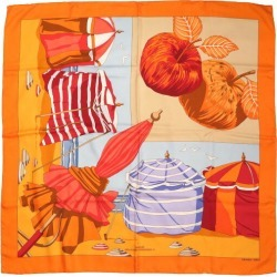 Attractive 2 silk 100% of beautiful article Hermes boyfriend 90 CHARMES DES PLAGES NORMANDES 2 Normandy Coast orange scarf 0047 HERMES