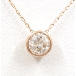 K18 18-karat gold PG pink gold necklace diamond 0.30 used jewelry ★★ giftwrapping for free