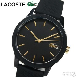 The watch that Lacoste LACOSTE 12.12 2001064 (175) clock watch Lady's black rubber is black