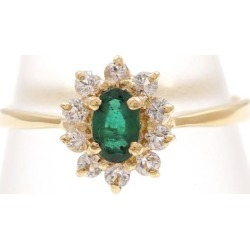 K18 18-karat gold YG yellow Goldring 13 emerald white sapphire used jewelry ★★ giftwrapping for free