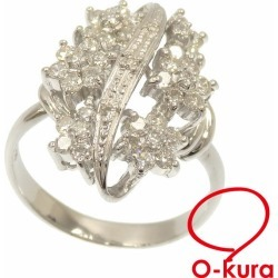 Diamond ring Lady's Pt900 14 1.00ct 7.8 g platinum diagram ring deep-discount pawnshop exemption from taxation A6023744